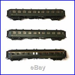3 voitures A8, B9 et B9 Rapide Nord 1 et 2CL Sncf ép IIIb-HO-1/87-LSMODELS 40186