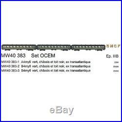 3 voitures OCEM A4, B4, B4 myfi 1et 2CL SNCF Ep IIIb-HO 1/87-LSMODELS 40383