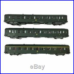 3 voitures UIC 2 fois B10 et 1 fois A9 1 et 2CL Sncf époque III-HO-1/87-REE VB