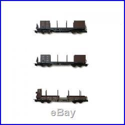 Coffret de 3 Wagons transport de bois ÖBB-HOe-1/87-ROCO 34609