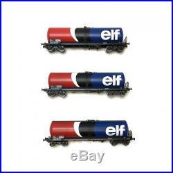 Coffret de 3 wagons citernes ANF longue ELF époque IV-HO 1/87-REE WB495
