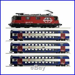 Coffret de convoi SBB locomotive + 3 voitures duplex époque VI -HO-1/87-ROCO 61
