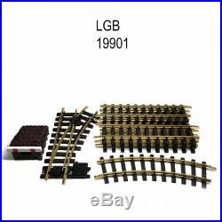 Coffret de rails avec butoir et aiguillage train de jardin -G-1/22.5-LGB 19901