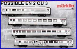 Marklin 4 Voitures Inox Tee Neuves Essieux En Deux Ou Trois Rails