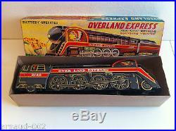 Modern Toys (Japan) Locomotive Overland Express en tôle à piles 41 cm Vintage