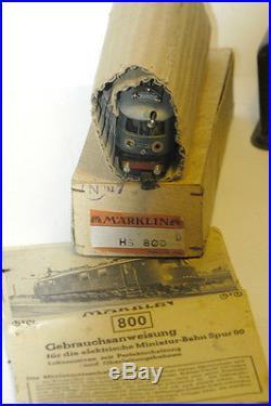 RARE LOCOMOTIVE MARKLIN HS800 1940/45 HO + BOITE ORIGINALE + WAGGONS + TRANSFO