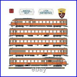 Rame 5 éléments RTG N°4 dépôt de Vénissieux Lyon SNCF digital son-HO-1/87-EPM E2
